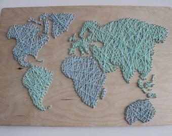 String art | World Map | Handmade