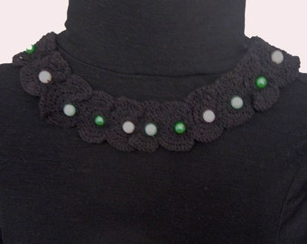crochet cotton necklace with pearly beads