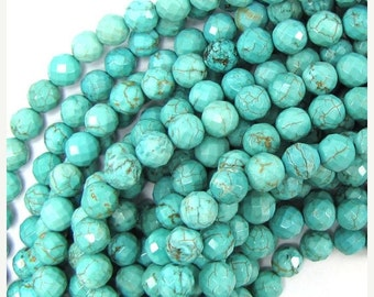 """10% SALE 8mm faceted blue turquoise round beads 15.5"""" strand 31313"""