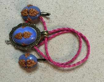 Handmade polymer clay floral pendant and earrings set