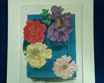 Flowers on a Tray print 8x10 matted to 11x14