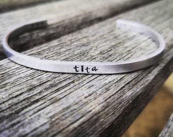 Cuff bracelet, Minimalist cuff,  skinny cuff bracelet, hand stamped cuff bracelet, Personalized cuff bracelet