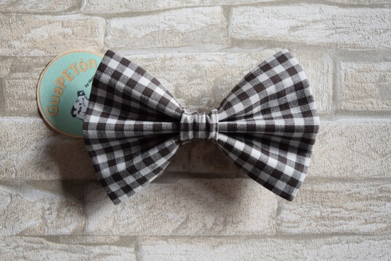 """Bow Tie Bowtie """"Dark Brown Chequered"""" for dogs, cats or other pets, brown white chequered"""