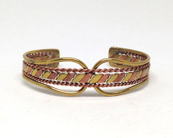 Classic Gorgeous Mixed Metal Braided Vintage Estate Cuff Bracelet