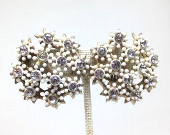 Stunning Celluloid Flower Rhinestone Silver Tone Vintage Estate Earrings