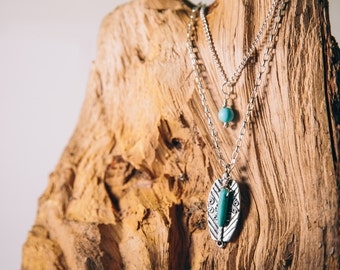 Layered Turquoise Charm Necklace