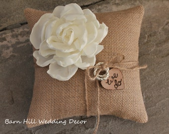 Ring Bearer Pillow Burlap Ring Bearer Pillow Burlap Pillow Wedding Rings Wedding Bands Burlap