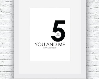 Fifth Anniversary Gift, Black and White Art, You and Me Art, Anniversary Art, Anniversary gift, Anniversary Wall Art