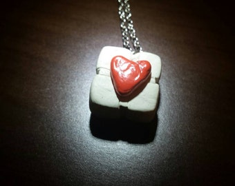 Handmade Portal companion cube necklace