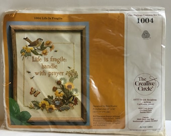 Life Is Fragile Handle With Prayer-Embroidery/Crewel Kit-The Creative Circle-1004-sealed in package