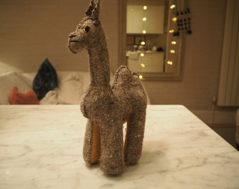 A grey camel Soft toy  - exquisite hand made woolen animals with character