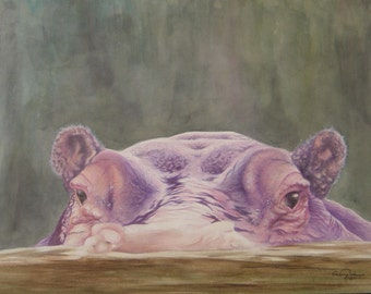 "Unframed Original Watercolor Painting of a Hippopotamus (18.5"" x 14"")"