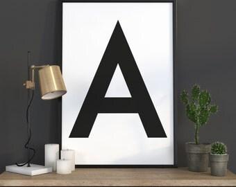 A Letter Print, Initial Wall Art, Scandinavian Art, Scandinavian Poster, Initial Poster A Letter Poster, A Letter Print, INSTANT DOWNLOAD