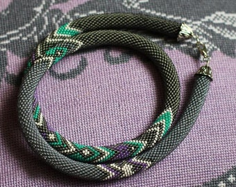 beaded lariat beaded necklace beaded Tow beaded long necklace gift for women Beaded harness Bead Crochet Rope Beaded handmade jewelry