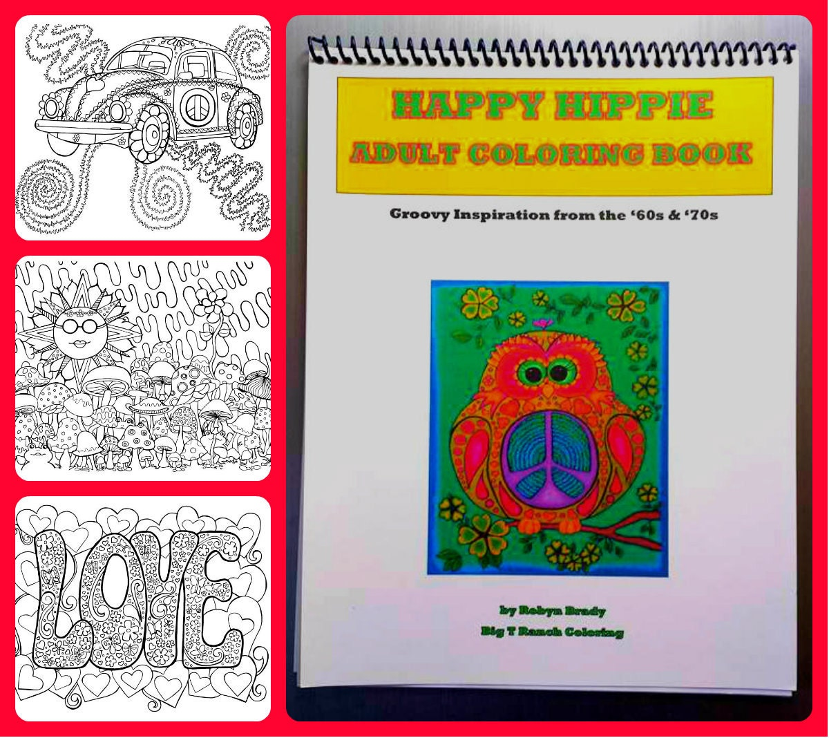 Hippie coloring book printable adult coloring book Coloring books for adults spiral bound
