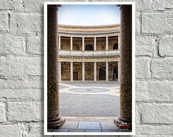Fine Art Print, View into the Formal Baroque Courtyard of the Palace of Charles V, The Alhambra, Granada, Spain