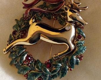 Monet wreath and deer pin