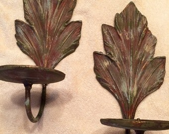 Metal candle wall sconce, Leaf candle sconce, Annie Sloan