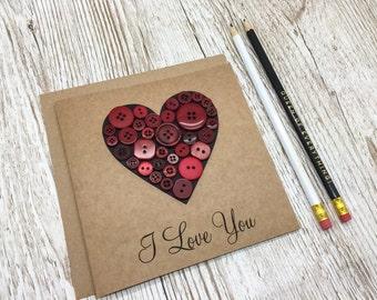 Handmade Love Card - Button Love Heart Card - Anniversary Card  - Birthday Card - Love Card - Handcrafted Anniversary Card - Kraft Card