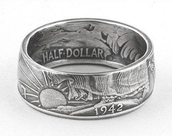90% Silver Walking Liberty Half Dollar Coin Ring