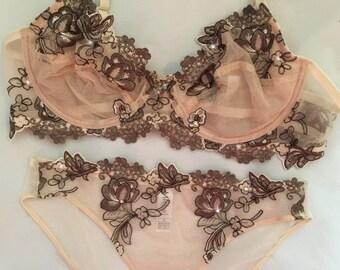 Beige Brown Embroidered Lace Swarovski Crystal Bra and Panties Set 34C