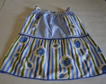 Vintage blue flower and stripe half apron with two pockets, hostess apron