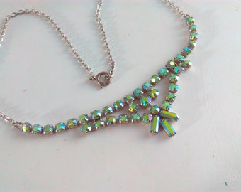 Vintage, 43cm, 1950s, rhinestone necklace, vintage necklace, crystal necklace, aurora borealis, AB crystal, necklace, wedding, bride, bridal