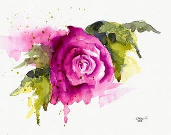 Rose. Watercolor painting, original.