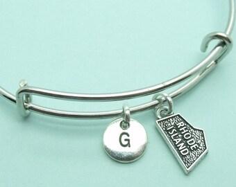 Rhode Island charm bangle bracelet, personalised initial bangle, letter, personalised charm,
