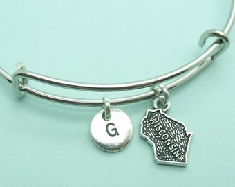 Wisconsin charm bangle bracelet, personalised initial bangle, letter, personalised charm,