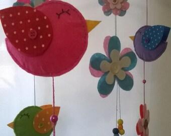 Baby Crib Mobile - Baby Mobile - Bird Mobile - Girl Nursery Mobile - Flower Mobile