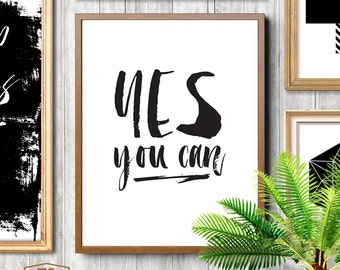 """Inspirational print, typography poster, """"YES YOU CAN""""  motivational print, office decor, office gift, gift for office worker, colleague"""