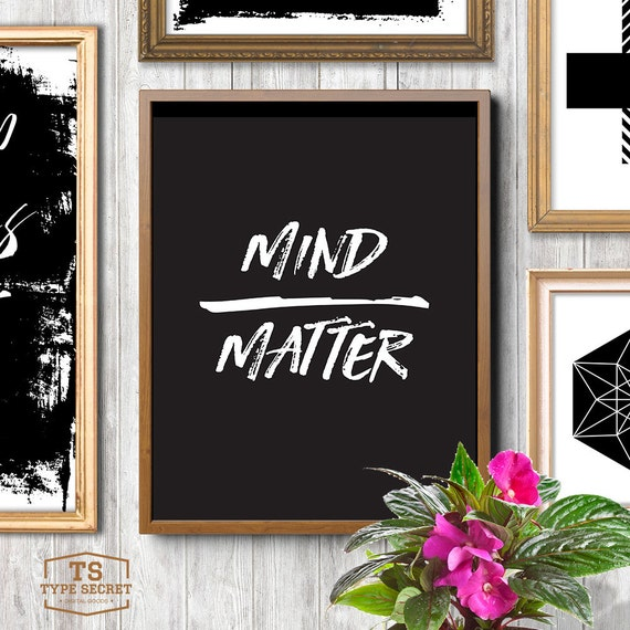 Mind matter black and white office decor cubicle decor college for Decor matters