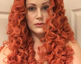 Merida lace front wig red curly ginger ouat brave cosplay