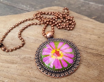 Purple Daisy Pendant Necklace