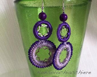Earrings crochet / metal flowers and beads