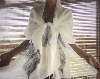 Indigo White Linen Shawl - Hand Printed Shawl. Eco friendly, large handmade scarf, linen summer scarf,  leaf print shawl, mbpblue designs