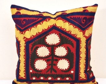 Embroidered Suzani Cushion-Suzani Pillow-Vintage uzbek suzani pillow cover