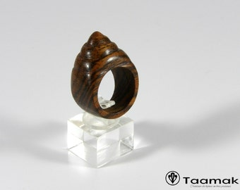 Precious made hand-Piece jewelry-unique Taamak Bocote from Guyana carved shell ring for woman-art-wood ring ring
