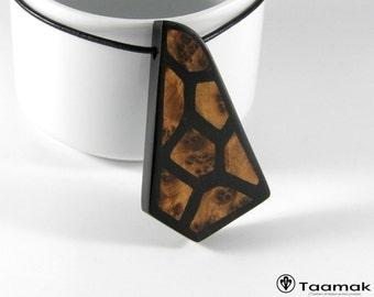 Necklace unique piece Gabon ebony, with veneers made of Cedar of the Morocco