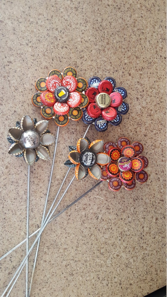 Items similar to bottle cap garden flower on etsy for How to make bottle cap flowers