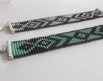 graphics, turquoise and black beads Cuff Bracelet miuky