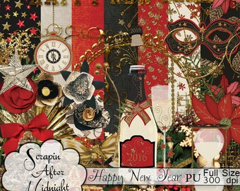 Happy New Year Elements,Christmas, Black, Gold,Clip Art
