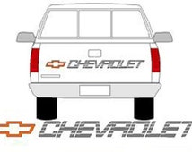 CHEVROLET Truck Tailgate Decal - RED Bowtie With SILVER Lettering