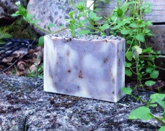 Lavender Fields Forever, with lavender flowers exfoliant. Handmade cold process olive oil soap, 5 oz bar