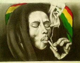 Hand made portrait Bob marley