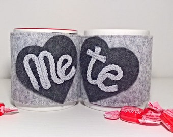 "Coppia di scaldatazza ""Me&te"" , cup warmers -Valentine"