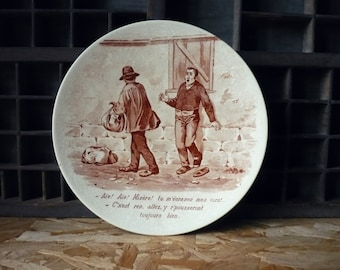 Plate decoration drawing humor - french plate - XIX - Sarreguemines