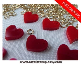 Heart Charms - 42 Pieces Set - 7 Colors - 3 Models - Pairs