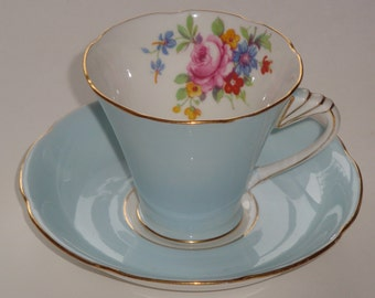 Royal Grafton Pale Blue and Floral Tea Cup and Saucer